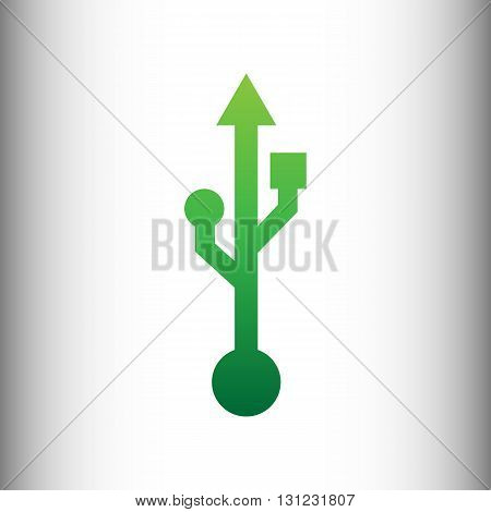 USB sign. Green gradient icon on gray gradient backround.