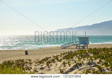 Lifeguard hut on the Malibu beach. California