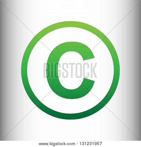 Copyright sign. Green gradient icon on gray gradient backround.