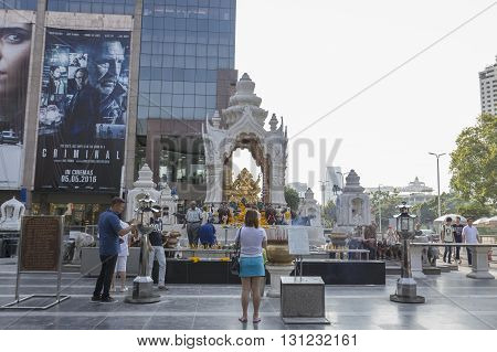 BANGKOK THAILAND - APR 17 : scene of Ganesha shrine at Central world in Ratchaprasong area on april 17 2016. Thailand. Ganesha shrine is one of sacred item in Ratchaprasong area