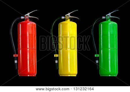 Many fire extinguisher tank on black background