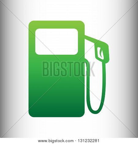 Gas pump sign. Green gradient icon on gray gradient backround.