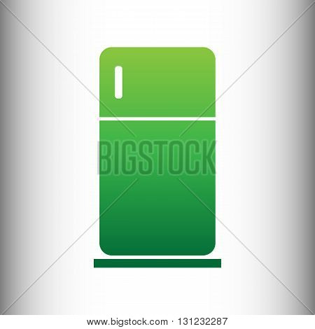 Refrigerator sign. Green gradient icon on gray gradient backround.