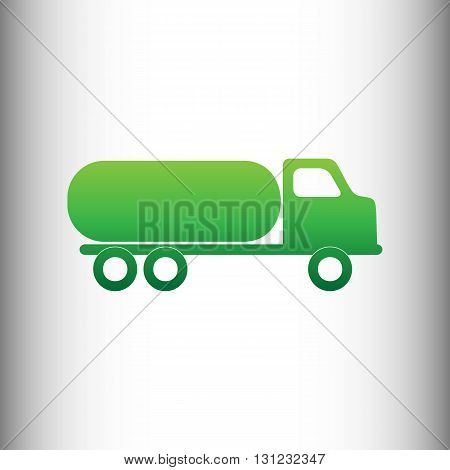 Car transports sign. Green gradient icon on gray gradient backround.