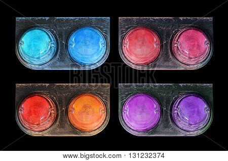 Many color Tail lights of truck on black background