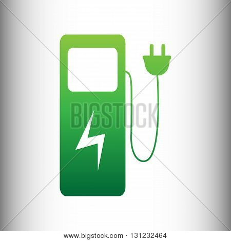 Electric car charging station sign. Green gradient icon on gray gradient backround.