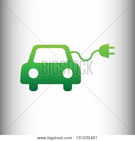 Eco electric car sign. Green gradient icon on gray gradient backround.