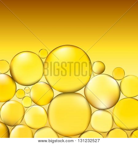 Oil bubbles background. Yellow water bubbles abstract light illumination. Vector. 3d illustration.