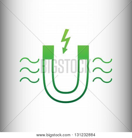 Icon of magnet with magnetic force indication. Green gradient icon on gray gradient backround.