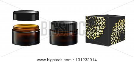 Blank Realistic Cosmetic Container for Face Cream, Powder, Gel, Face mask. Package isolated on white background. Black Box or cardboard packaging. 3d illustration. vector. For Beauty advertising