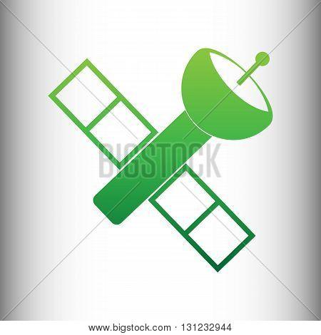 Satellite sign. Green gradient icon on gray gradient backround.