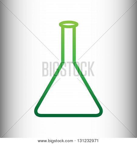 Conical Flask sign. Green gradient icon on gray gradient backround.