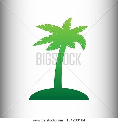 Coconut palm tree sign. Green gradient icon on gray gradient backround.