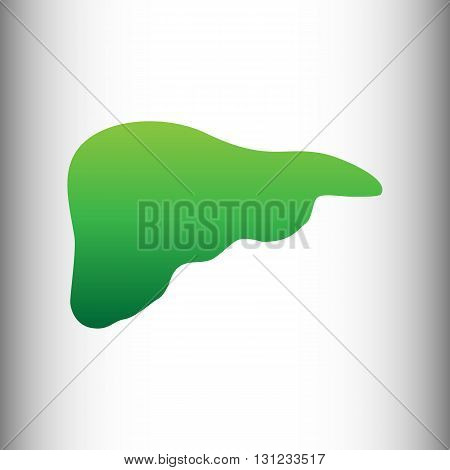 Human anatomy. Liver sign. Green gradient icon on gray gradient backround.