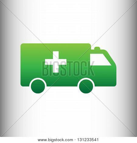 Ambulance sign. Green gradient icon on gray gradient backround.
