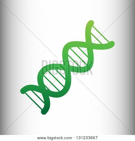 The DNA sign. Green gradient icon on gray gradient backround.