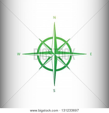 Wind rose sign. Green gradient icon on gray gradient backround.