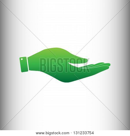 Hand sign. Green gradient icon on gray gradient backround.