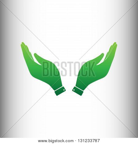 Hand icon. Prayer symbol. Green gradient icon on gray gradient backround.