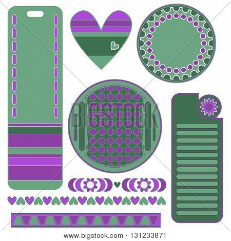 Green and lilac graphics set with tags labels heart and trims