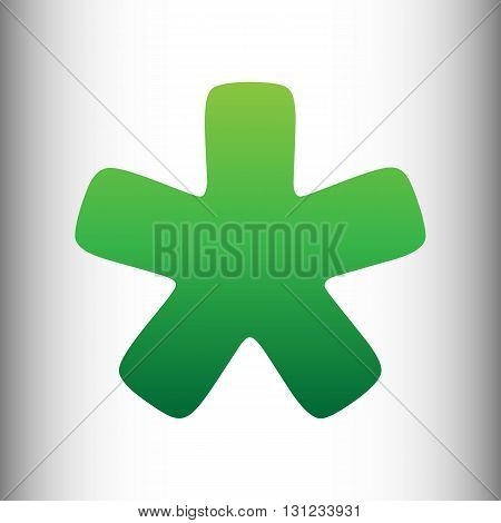 Asterisk star sign. Green gradient icon on gray gradient backround.