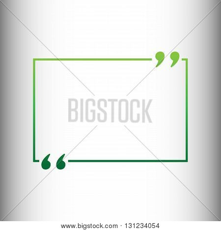 Text quote sign. Green gradient icon on gray gradient backround.