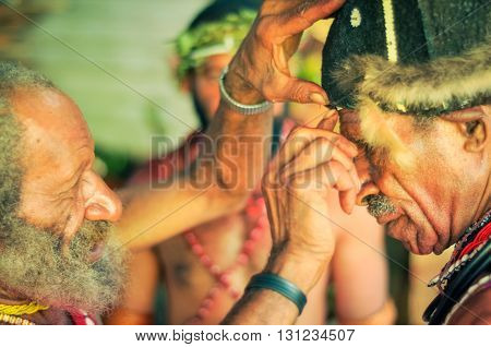 Two Old Men In Papua New Guinea
