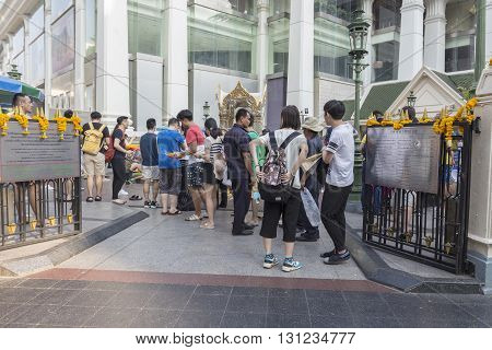 BANGKOK THAILAND - APR 17 : Unidentified tourist in Erawan shrine at Ratchaprasong Junction on april 17 2016 Thailand. Erawan shrine is one of famously sacred item in Ratchaprasong area