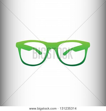 Sunglasses sign. Green gradient icon on gray gradient backround.