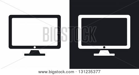 Vector monitor icon. Two-tone version on black and white background