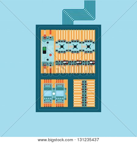 Electrical control wire system in cabinet with buttons and sensors Supply of electricity vector illustration.