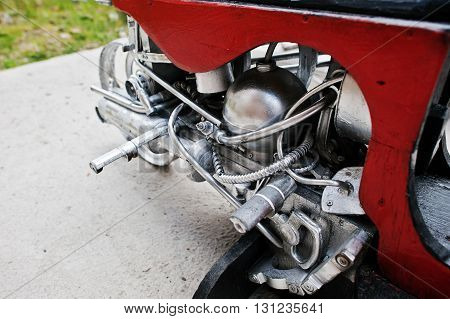 Close Up Details Of  Handmade Motor Engine At Motorcycle