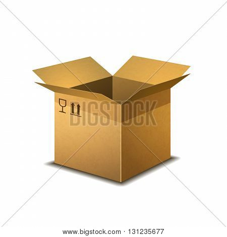 Realistic open cardboard box with parcel post signs isolated on white