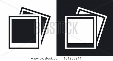 Vector photo cards icon. Two-tone version on black and white background