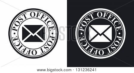 Vector postal stamp icon. Two-tone version on black and white background