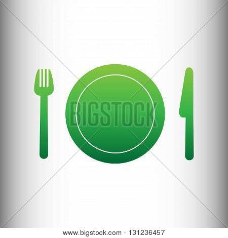 Fork, plate and knife. Green gradient icon on gray gradient backround.