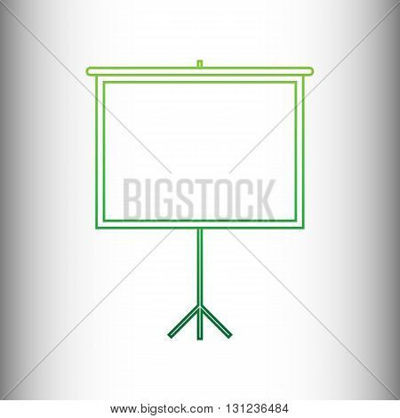 Blank Projection screen. Green gradient icon on gray gradient backround.