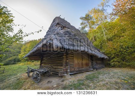 Beautiful old ethnic Ukrainian village in autumn