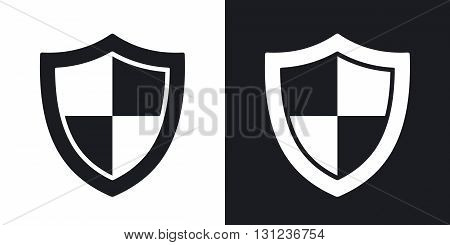 Vector protection icon. Two-tone version on black and white background