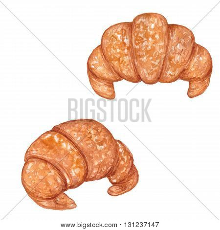 Croissants, set, watercolor painting, isolated on white, hand drawing