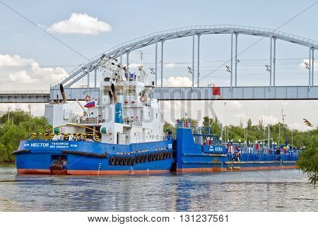 Transportation Of Goods And Petroleum Products On Barges On The Volga-don Shipping Canal