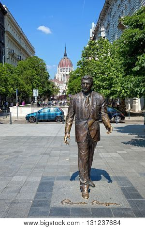 Budapest, Hungary - May 21: Statue of  Ronald Reagan on May 21, 2016 in Budapest, Hungary