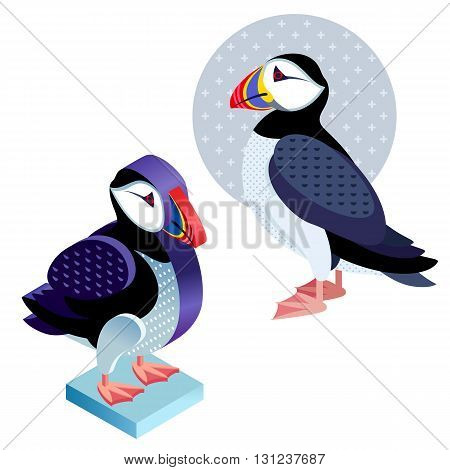 Unusual illustration of a set of birds. Vector bird flat icon deadlock and its isometric view. Two design on isolated on white background.