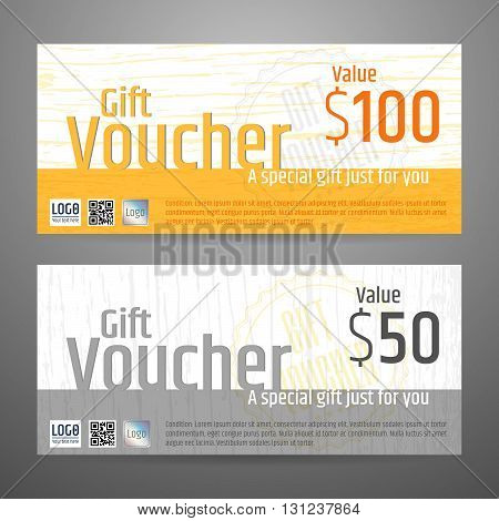 Gift certificate voucher coupon template in vector