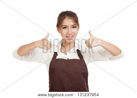 Asian Waitress  In Apron Two Thumbs Up