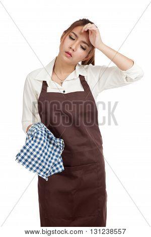 Tried Asian  Waitress  In Apron