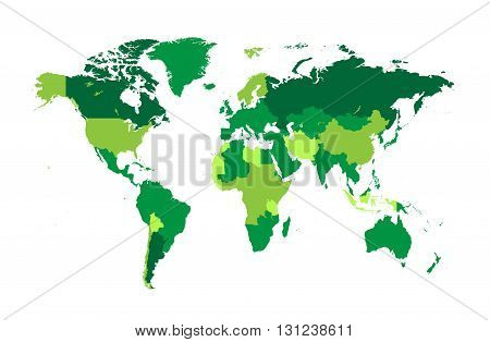 world map flat tree green colors background