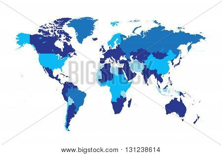 World map flat vector tree blue color