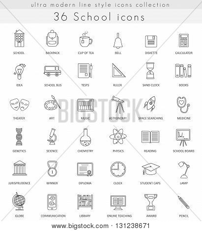 Vector School ultra modern outline line icons for web and apps