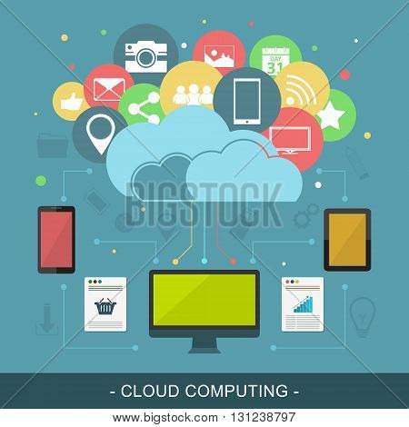 Cloud computing vector illustration. Computer tablet and smart phone with colorful icons.